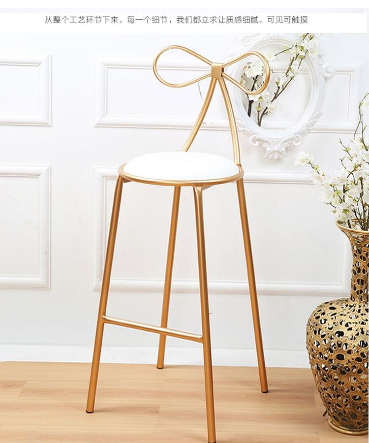 Качественное металлическое кресло, модный скандинавский барный стул для отдыха, современные обеденные вечерние стулья с бантом, форма спинки и высокая поролоновая губка - Цвет: H105 white