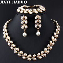jiayijiaduo Fashion Wedding jewelry set Gold-color imitation Pearl Necklace Long earrings Bracelet for Women Parure bijoux femm(China)