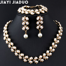 Bracelet Wedding-Jewelry-Set Pearl-Necklace Long-Earrings Gold-Color Women Fashion Jiayijiaduo