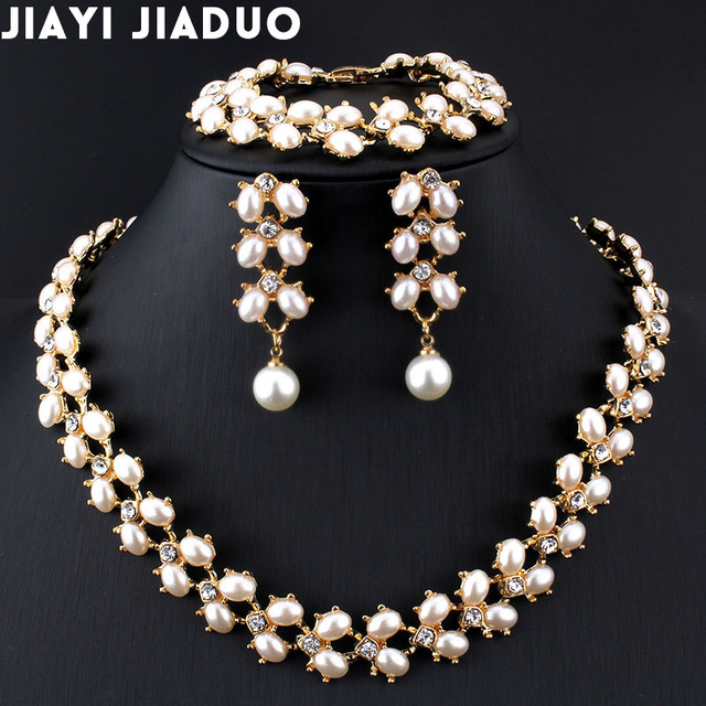 jiayijiaduo Fashion Wedding jewelry set Gold-color imitation Pearl Necklace Long earrings Bracelet for Women Parure bijoux femm