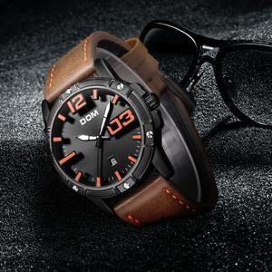 Image 2 - DOM 2018 חדש שעון גברים גדול חיוג אופנתי ספורט קוורץ שעון עמיד למים עור Mens שעוני מותג יוקרה Relogio Masculino M 1218