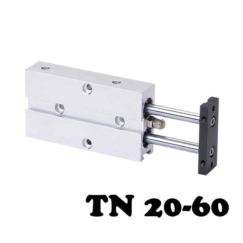 TN20-60 high quality double shaft double rod piston cylinder, cylinder TN double action pneumatic valve 20mm hole 60mm stroke. tn25 60 two axis double bar cylinder cylinder double shaft rod dual action pneumatic air cylinder