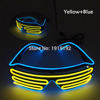 Double Color Glow LED EL Glasses Wire Sunglasses Light Up Shades Flashing Rave Festival Party Bright