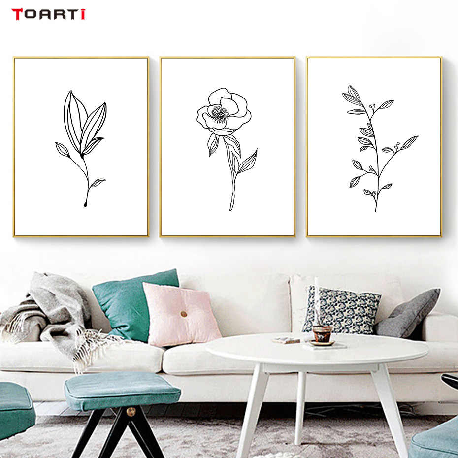 Flower Leaf Bud Wall Painting Scandinavian Art Minimalist Line Drawing Nordic Posters Prints Living Room Home Decoration Picture