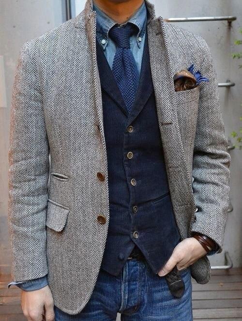 Airtailors Новый Дизайн мужские Винтаж Slim Fit Grey Herringbone Твидовые костюмы для выпускного деревенский ферма Свадебные смокинги (куртка + жилет)