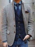 Airtailors جديد تصميم رجل خمر يتأهل رمادي متعرجة التويد بروم ريفي مزرعة زفاف البدلات الرسمية (سترة + سترة)