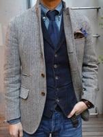 Airtailors Nieuwe Ontwerp Mens Vintage Slim Fit Grey Visgraat Tweed suits Prom Rustieke Farm Wedding Tuxedos (Jacket + Vest)