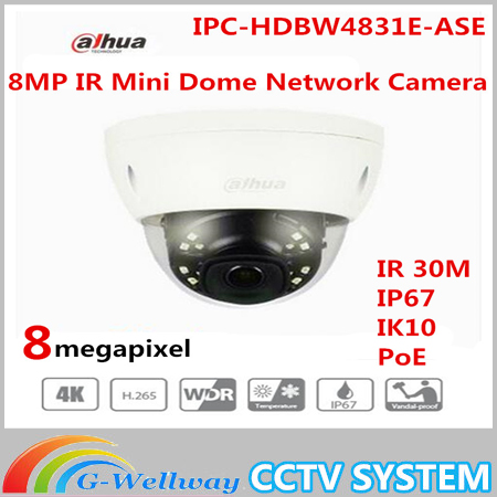 Free Shipping DAHUA CCTV IP Camera 4K 8MP IR Mini Dome Network Camera IP67 IK10 With POE without Logo IPC-HDBW4831E-ASE hkes wholesale 8pcs lot free shipping indoor ir dome ip camera with microphone