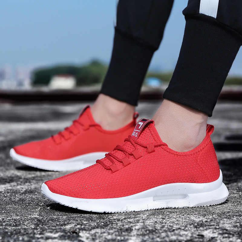 2019 nouveau déodorant respirant maille hommes chaussures décontractées 2019 nouveau été lumière Tenis chaussures hommes blanc mâle Sneakers chaussures à lacets