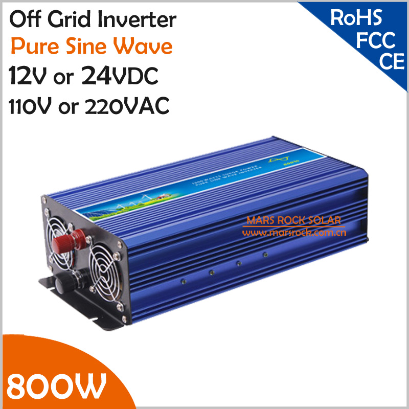 800W Off Grid Inverter, Surge Power 1600W 12V/24VDC to 110V/220VAC Pure Sine Wave Single Phase Inverter for Solar or Wind System