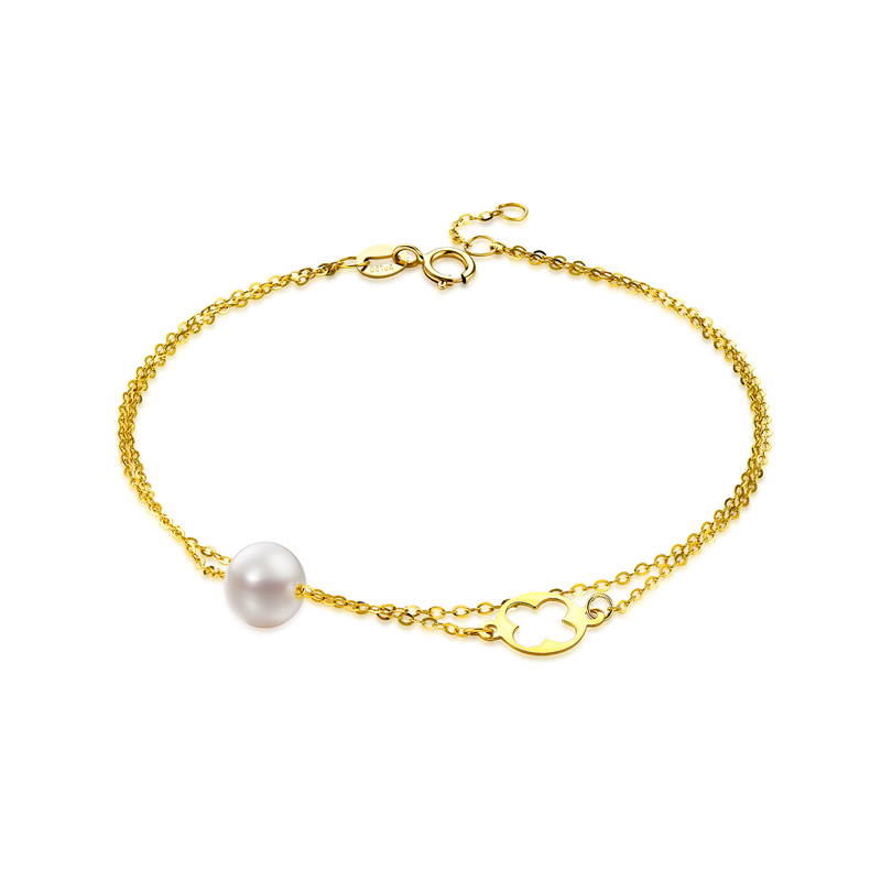 QYI Trendy Chain Bracelets 18K Yellow Gold Natural Cultured Freshwater Pearl Round White Pearl Women Party Jewelry Free ShippingQYI Trendy Chain Bracelets 18K Yellow Gold Natural Cultured Freshwater Pearl Round White Pearl Women Party Jewelry Free Shipping