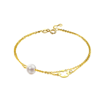 QYI Trendy Chain Bracelets 18K Yellow Gold Natural Cultured Freshwater Pearl Round White Pearl Women Party Jewelry Free Shipping