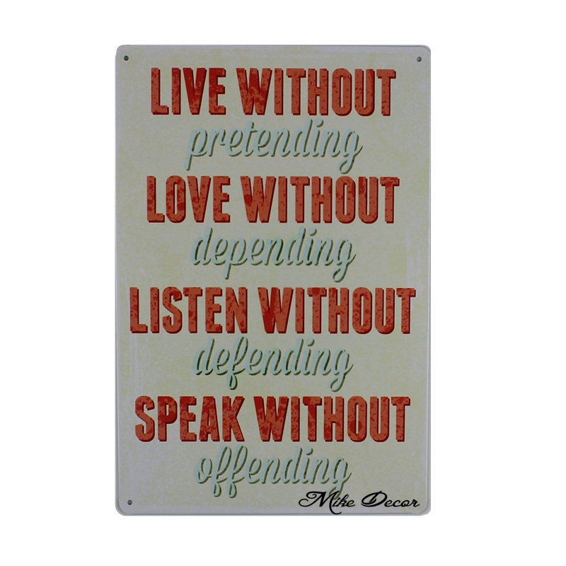 [ Mike86 ] LIVE LOVE LISTEN SPEAK Metal Sign inspiration Wall Poster Painting Home Class ...
