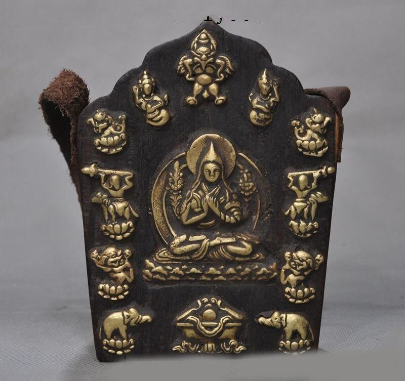 wedding decoration Tibet Wood Painting Copper Je Tsongkhapa master Guru Lama Buddha Thangka Shrine