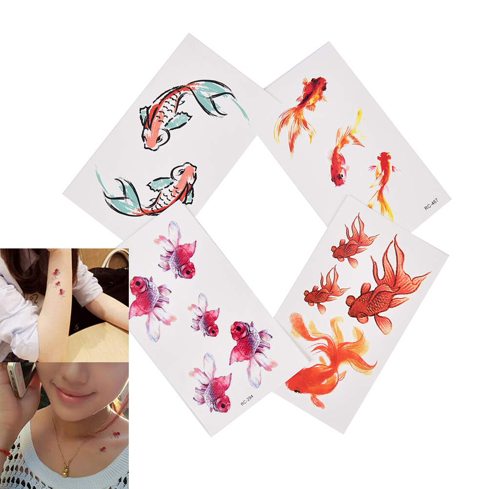 1 Sheet 3D Gold Fish Waterproof Temporary Tattoo Goldfish Girl Tatto Stickers Flash Tatoo Fake Tattoos