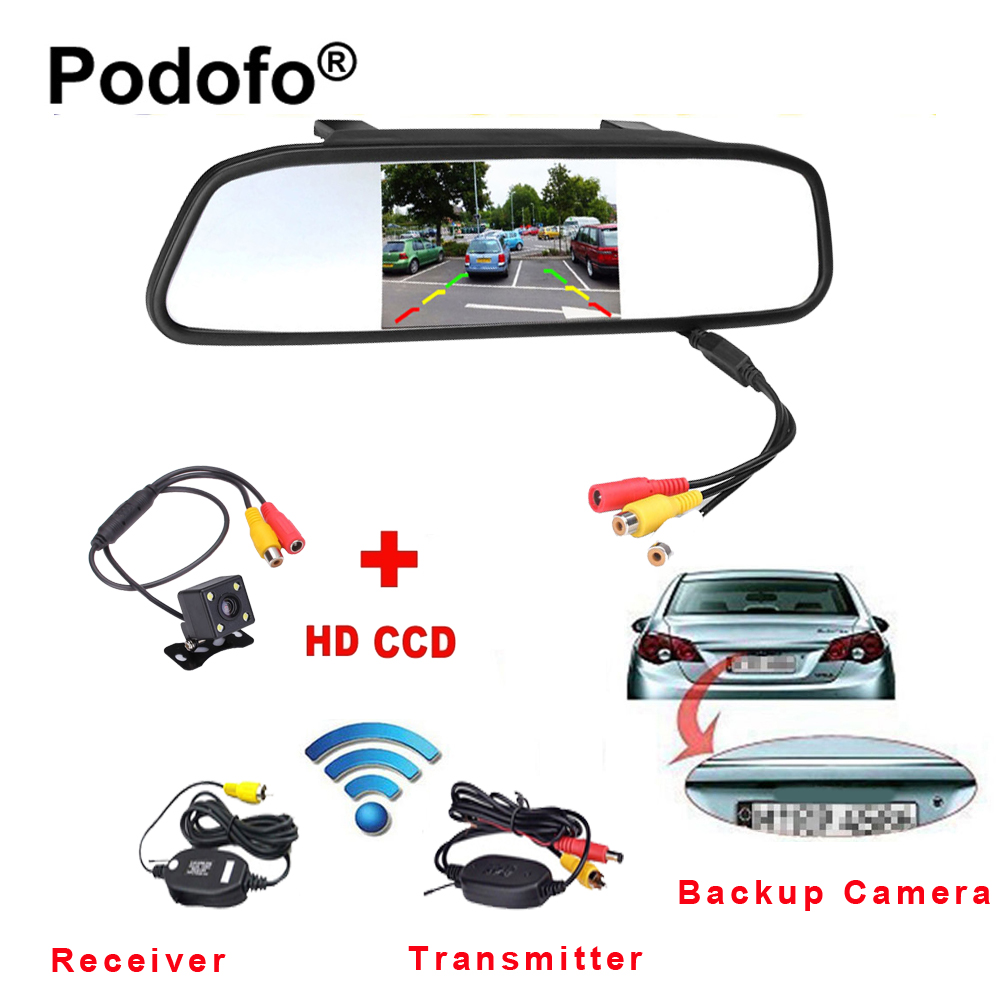 Podofo Wireless 4.3 TFT Rearview Mirror Car Rear View Camera HD Video Parking LED Night Vision CCD Backup Reverse Camera System