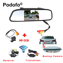Podofo Wireless 4.3″ TFT Rearview Mirror Car Rear View Camera HD Video Parking LED Night Vision CCD Backup Reverse Camera System