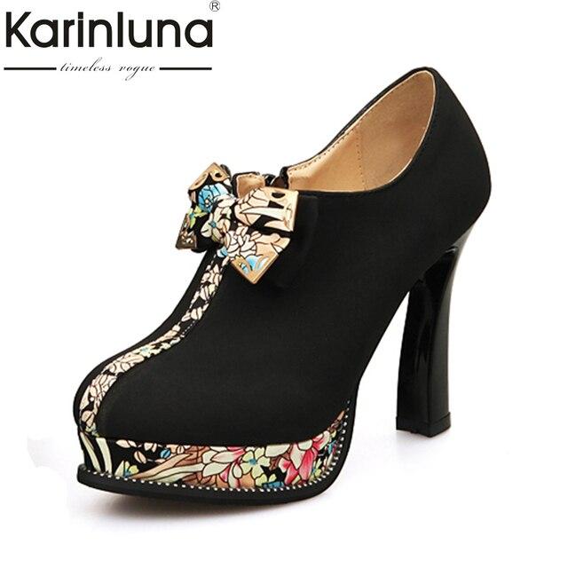 c8b5932cc KarinLuna Tamanho Grande 32-43 estilo estranho sapatos de Salto Alto  Mulheres Sapatos Mulher Plataforma