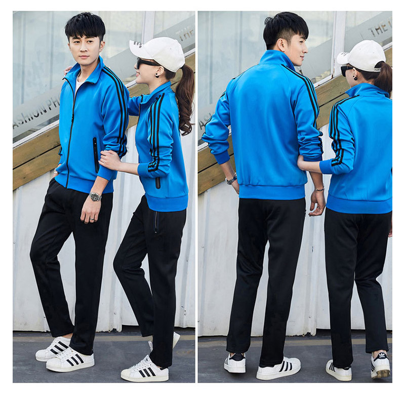 Men and women couples spring leisure suits Sports youth outdoor three bars trend self-cultivation two-piece suit