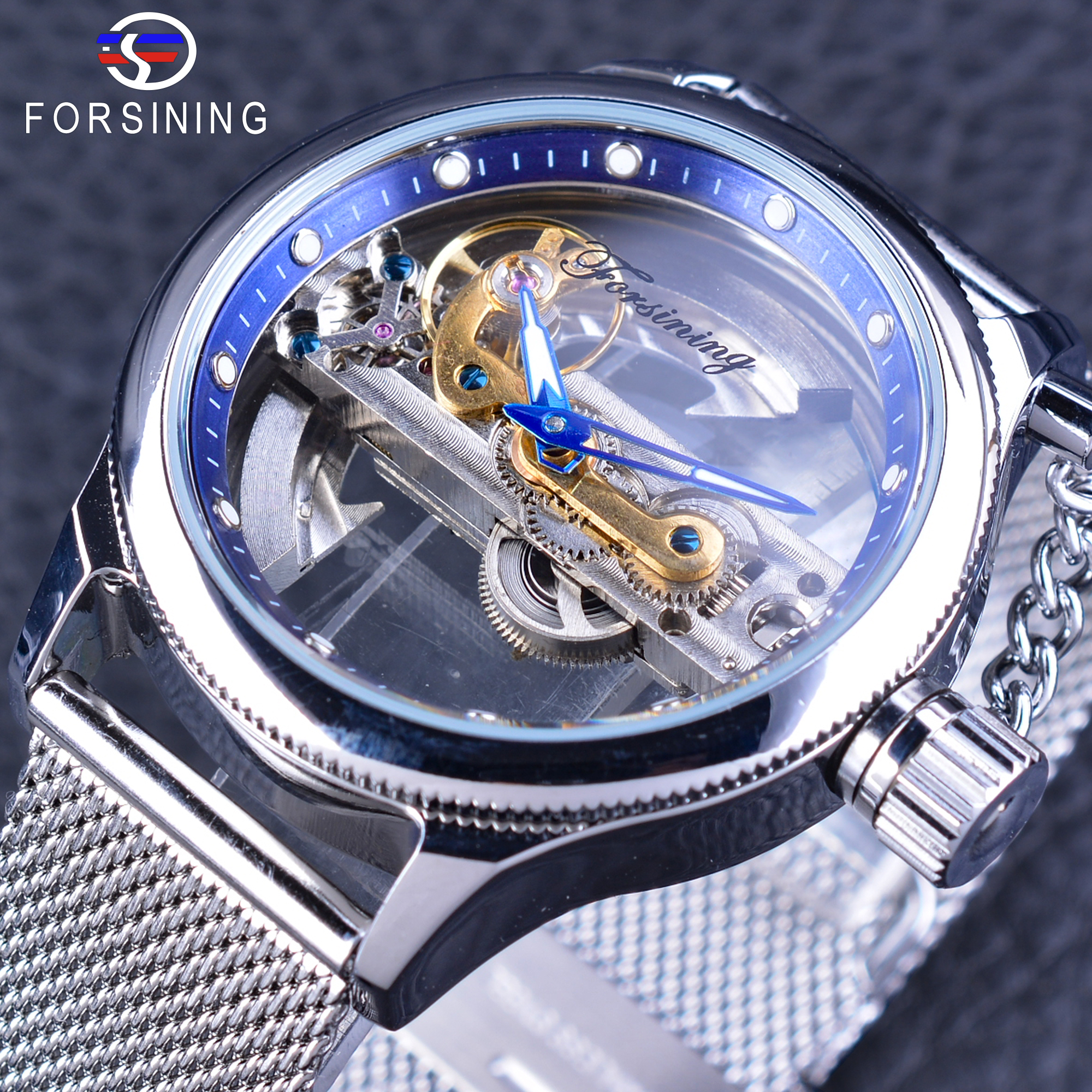 Forsining Blue Ocean Mysterious Apple Mesh Band Double Side Transparent Creative Watch Openwork Top Brand Luxury Male Clock цена