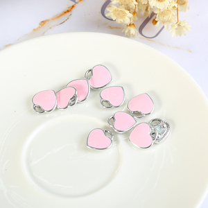 11mm*12mm Trendy Charms Pendant Alloy Pink Color Enamel Heart Charms Pendant For Jewelry Findings Accessories 20pcs Wholesale