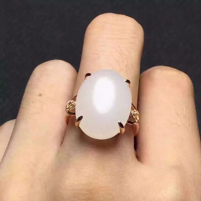 Fashion exaggerated gemstone ring 15mm*20mm natural Hetian Jade silver ring solid 925 silver big gemstone ring for woman gift