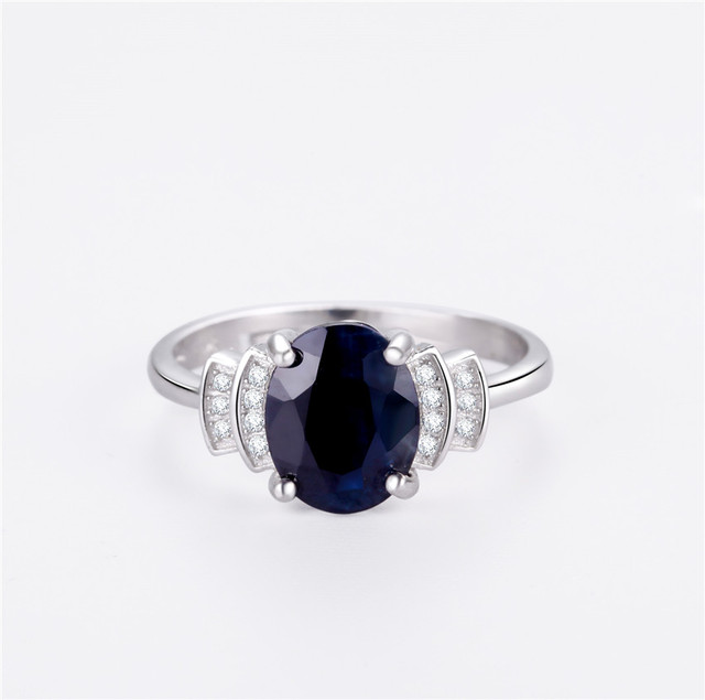 brixini.com - Dark Blue Oval Sapphire 925 Sterling Solid Silver Ring
