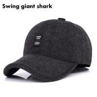 Swing Giant Shark 2017 New Woolen Baseball Cap Men Russian Winter Hats Warm With Fleece