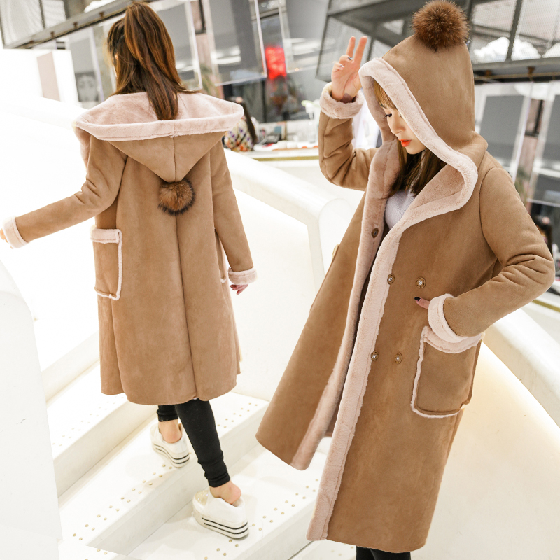 New 2017 Winter Women Faux Lambs Wool Hooded Coat Female Long Shearling Coats Double Breasted Faux Suede Leather Jackets H159