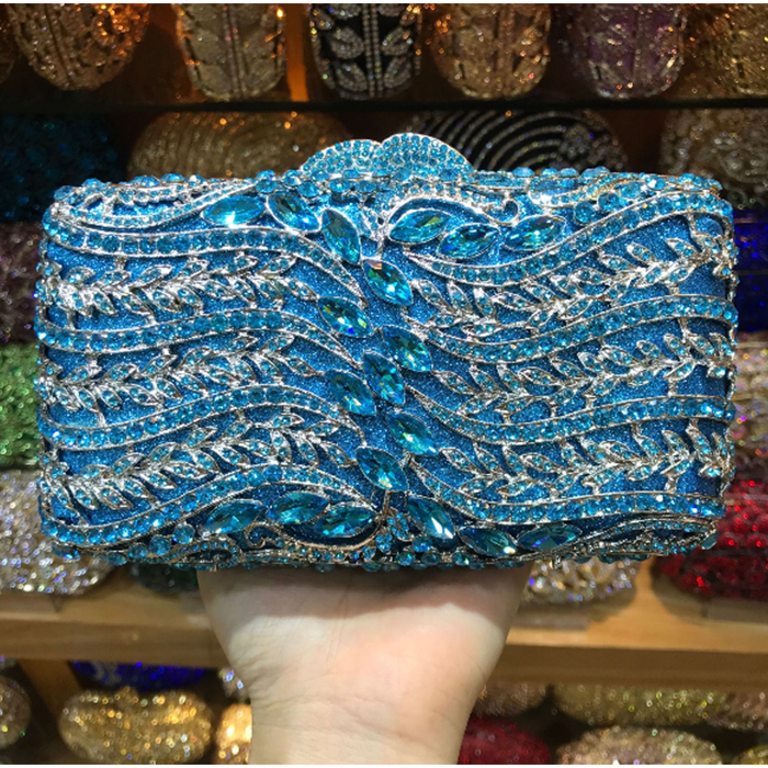 XIYUAN BRADN Luxury Silver blue Crystal Purse Evening Clutch Bag Women Metal Box Minaudiere Wedding Party Dinner Diamond Handbag цена
