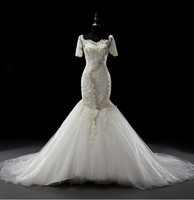 Luxury Long Mermaid Wedding Dress Beading Pearls Illusion Bridal Party Gowns Fairytale Princess Chapel Train 016329