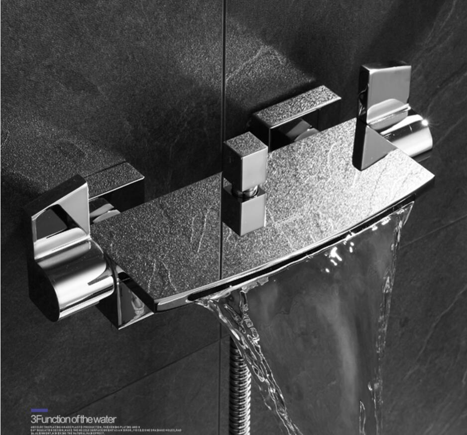 HTB1WREzXhz1gK0jSZSgq6yvwpXab Wall Mounted Brass Bathroom Gold Waterfall Bathtub Faucet set Square hand held Shower Faucet Sets Bathtub Faucet Set
