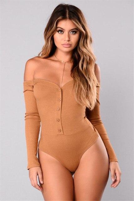 324012e0152 US $9.5 20% OFF Sexy Women Deep V neck Clubwear Stretch Off Shoulder  Bodysuit Jumpsuit Long Sleeve Button Leotard Short Jumpsuit Playsuit  Romper-in ...