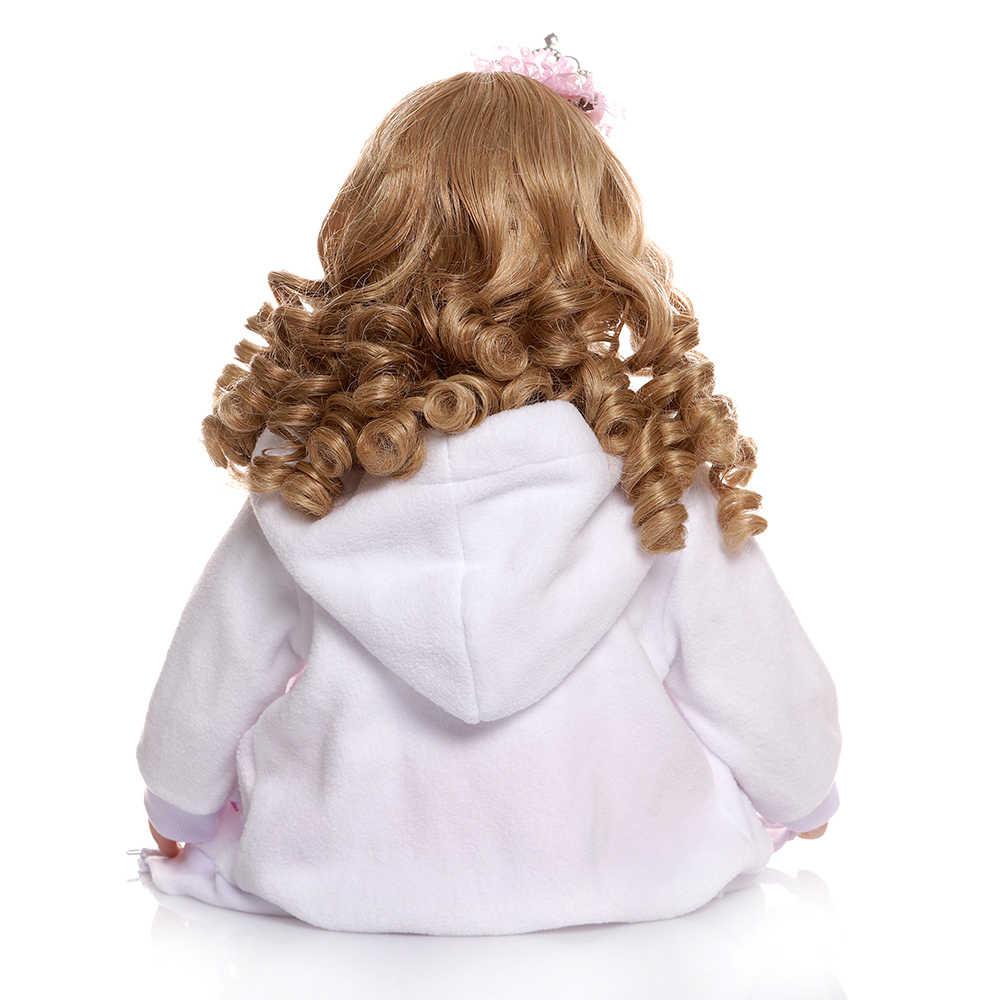 60 センチメートルリボーン幼児ガール人形姫とロングカーリーブロンド髪の人形 lol 玩具クリスマスギフト