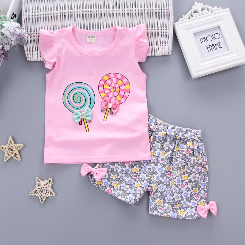 Two Pieces Stes Baby Girls Clothing Outfits Sets Fashion Brand Summer Newborn Infant Baby Girls Clothes Casual Sports Suits