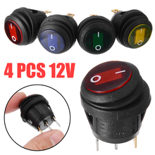 4pcs 12V 12A LED Car Boat On/Off 3-Pin SPST Round Rocker Switch Waterproof Small Switches