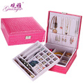 Super fashion  Korea European princess crocodile pattern leather jewelry storage box with lock jewel casket many colors