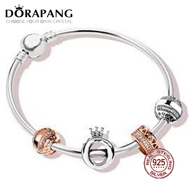 DORAPANG 2018 New Hot Sale 100% 925 sterling silver Bracelet For In Love Gift Set For Women Bangle Rose Bead Charm DIY Jewelry wostu 100% 925 sterling silver i love my family sweet home charm bracelet bangle for women cute girl lovely jewelry gift cqb810