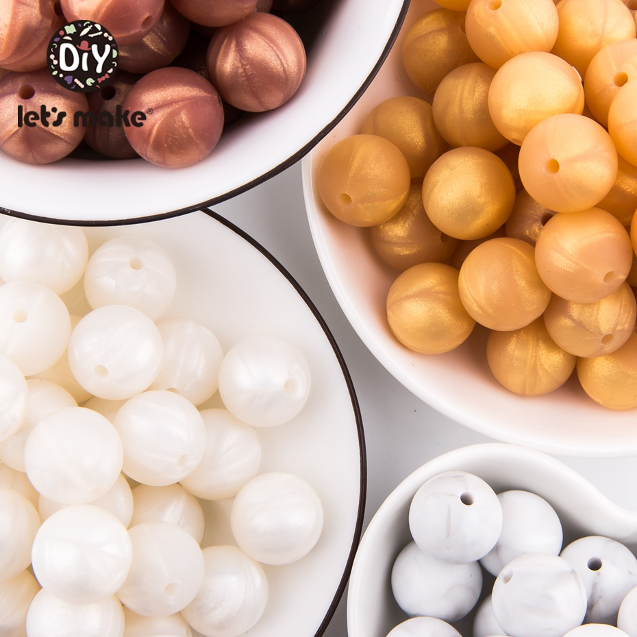 Let's Make Baby Teether Silicone Round Beads 50PC 15mm Marble Metallic Beads Pearl Rattle Nursing Necklace Gifts Silicone Beads