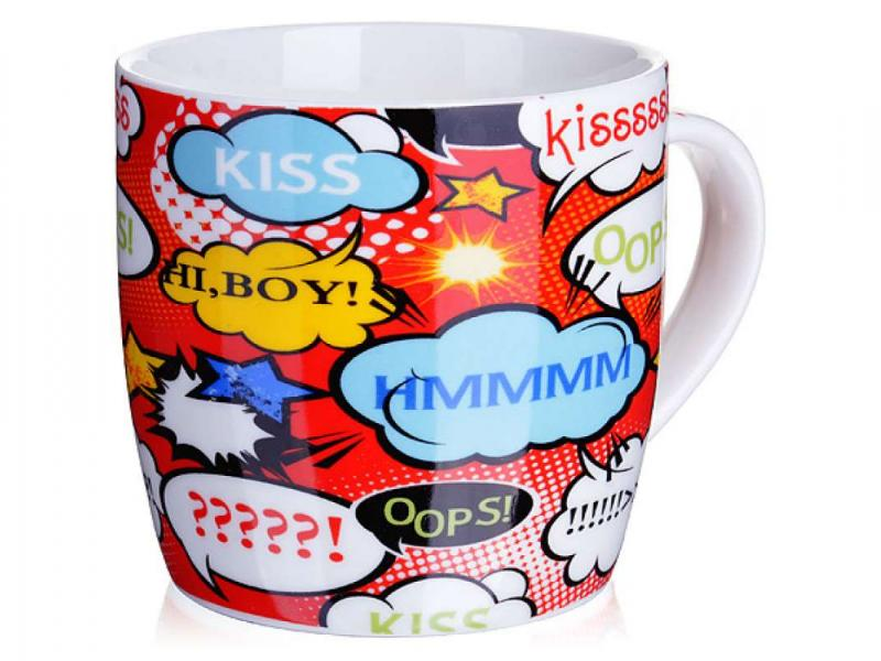 Mug LORAINE, Kiss, 320 ml, mixed colors, pop art simbalion 16 36 colors solid watercolor paint art supplies