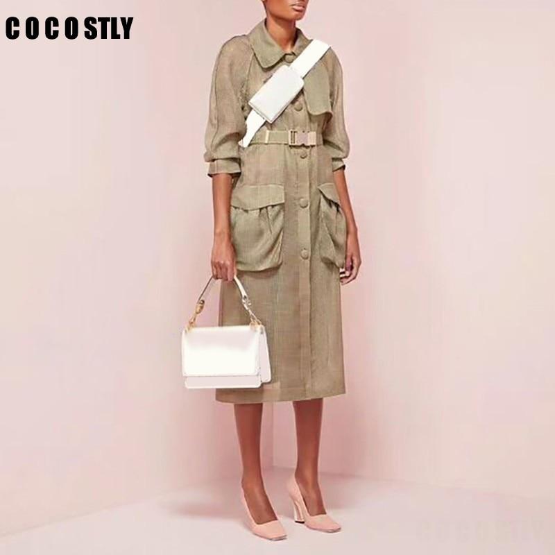 Autumn Elegant Solid   Trench   Coat For Women Coat Lapel Long Sleeve Button Sashes High Waist Long Female Windbreaker 2019 Fashion