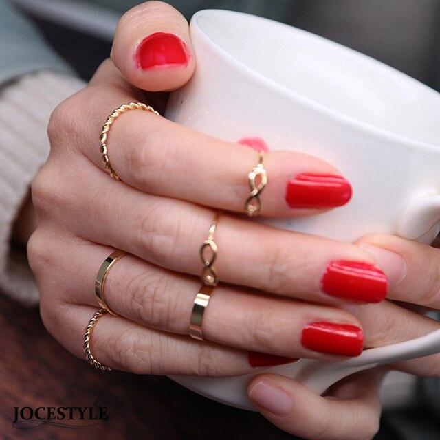 6 PCS Set Boho Vintage Retro Middle Finger Rings for Women Chic
