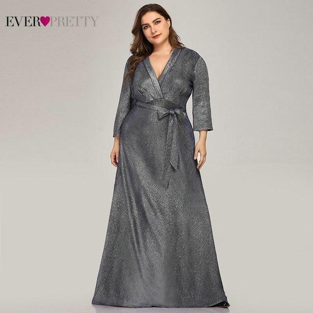 Sparkle Plus Size Evening Dresses Long Ever Pretty A-Line V-Neck Bow Sashes Navy Blue Elegant Formal Dresses Robe De Soiree 2019 3