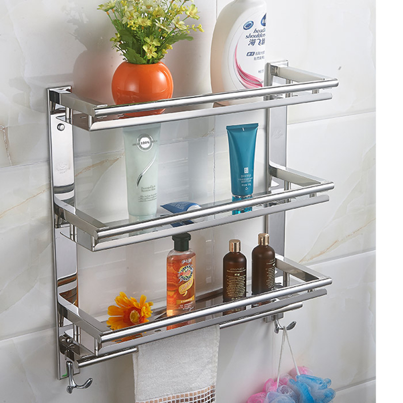 MTTUZK DIY Stainless steel 3 layers washing machine racks towel bar with hook bathroom Shelves kitchen and toilet storage rack swaddledesigns sunwashed pastels sterling mod circles голубая