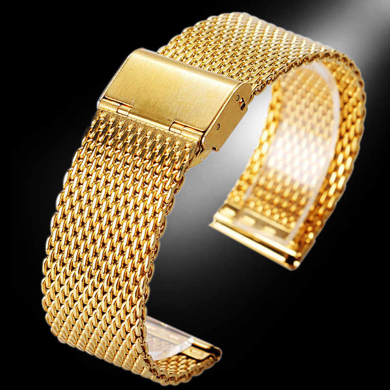 20mm 22mm Golden Flexible Mesh Stainless Steel Band for Men Women Wrist Watch Replacement Weaved Metal Strap Bracelet Wristband