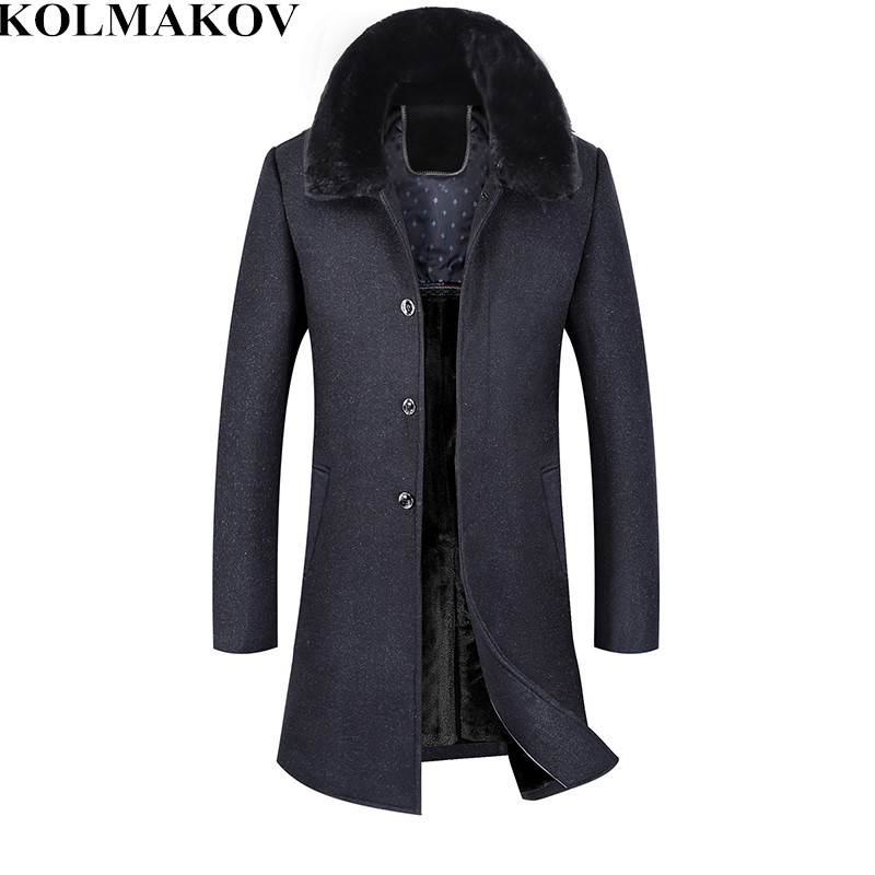 New Mens 2018 winter thick Long Woolen coats cashmere