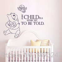 The Pooh Wall Decals Quotes Winnie Vinyl Sticker Nursery Room Bedroom Decal Baby Boy Girl Home Decor Art Murals Free Shipping