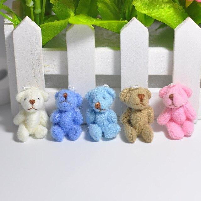 10PC Super Kawaii Mini 4cm Joint Bowtie Teddy Bear Plush Kids Toys Stuffed Dolls Wedding Gift For Children 2019 Uncategorized Decoration Stuffed & Plush Toys Toys