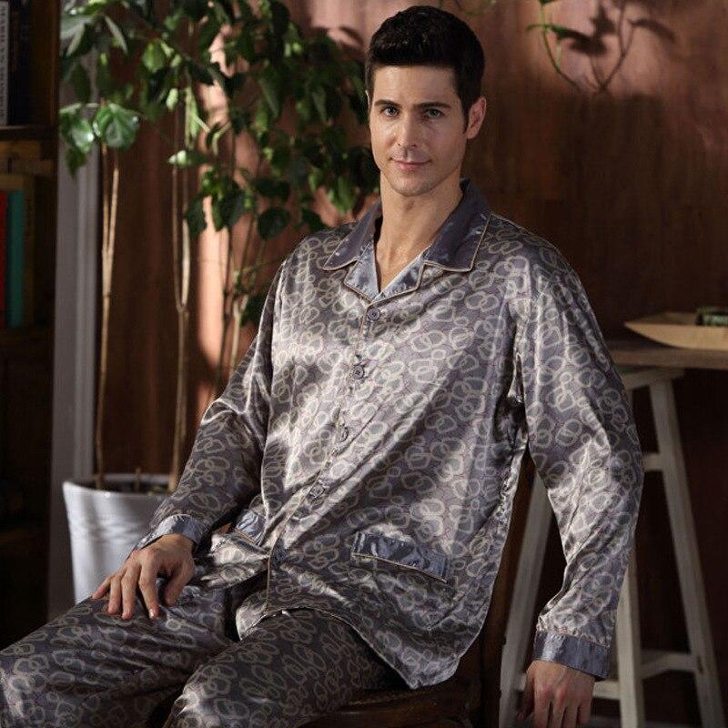 Spring autumn silk pajamas twinset middle age man long sleeve clothing satin Plus Size Silk Sleepwear Home loungewear XXXL 4XL striped pattern plush blanket for children