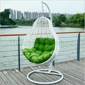 White rattan hanging chair outdoor with cushions supplier